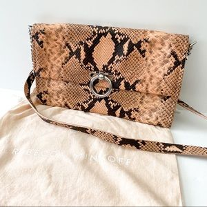 Rebecca Minkoff Snake Embossed leather clutch